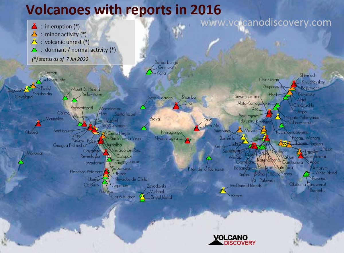 Map of active volcanoes with reports (news or ash advisories) in 2016