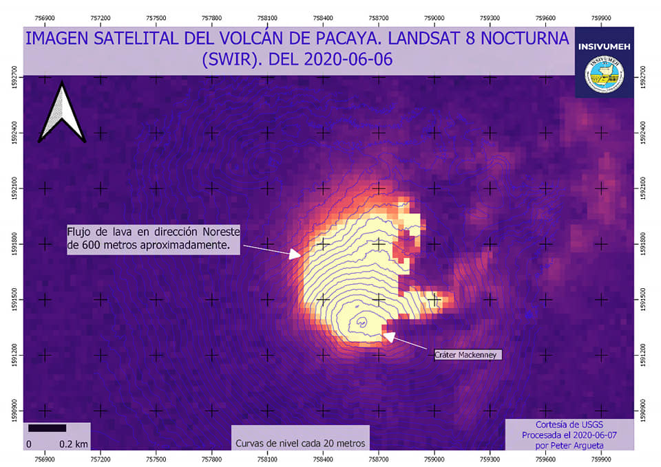 Lava flow on NE flank from Pacaya volcano visible from satellite (image: INSIVUMEH/facebook)