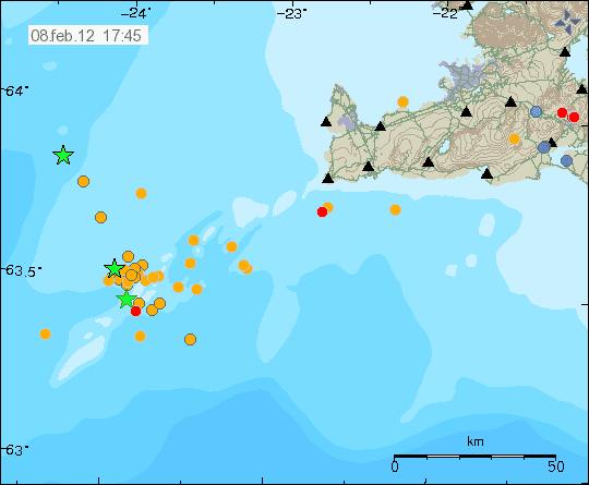 Location of the seismic swarm on 8 Feb 2012 (Icelandic Met Office)