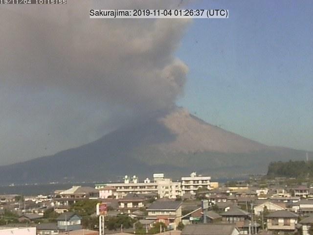 Volcanic plume from Sakurajima volcano yesterday (image: Tarumizu city webcam)