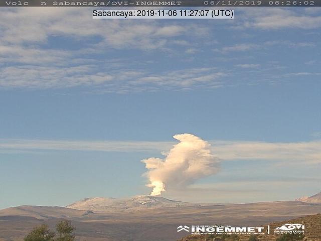 Erupting volcano Sabancaya on the 6 November 2019 (image: IGP)