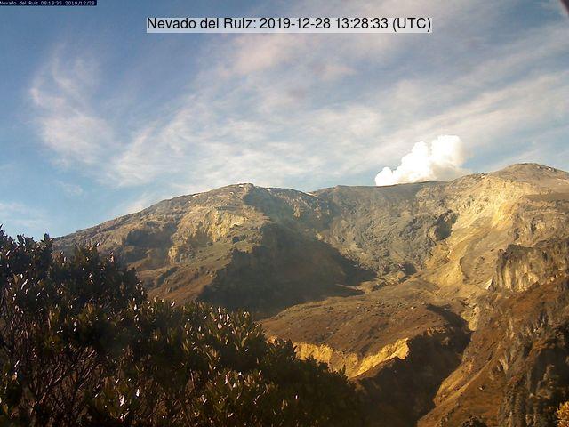 Emissions from Nevado del Ruiz volcano dispersed northwest (image: INGEOMINAS)