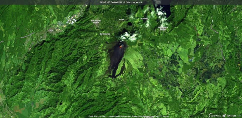 Lava flows on the southern flanks from Pacaya volcano (image: Sentinel 2)