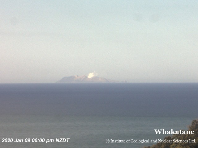 Steam plume rising from White Island (image: GeoNet )