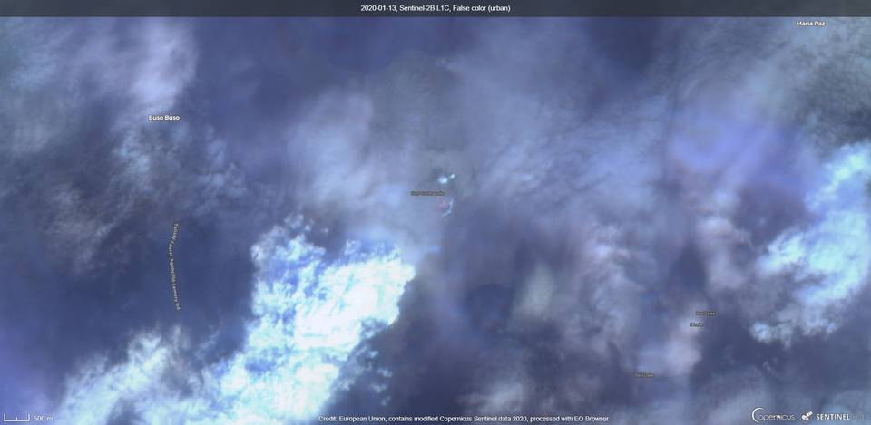 Detected thermal signals from the Taal´s main crater captured by satellite (image: Sentinel 2)