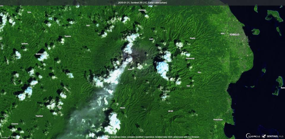 An ash plume from Dukono´s volcano from satellite (image: Sentinel 2)