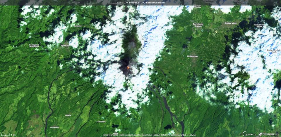 Incandescence from Fuego volcano visible from satellite (image: Sentinel 2)