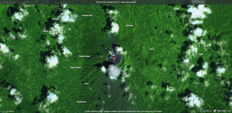 An ash plume and incandescence visible from Ibu volcano (image: Sentinel 2)