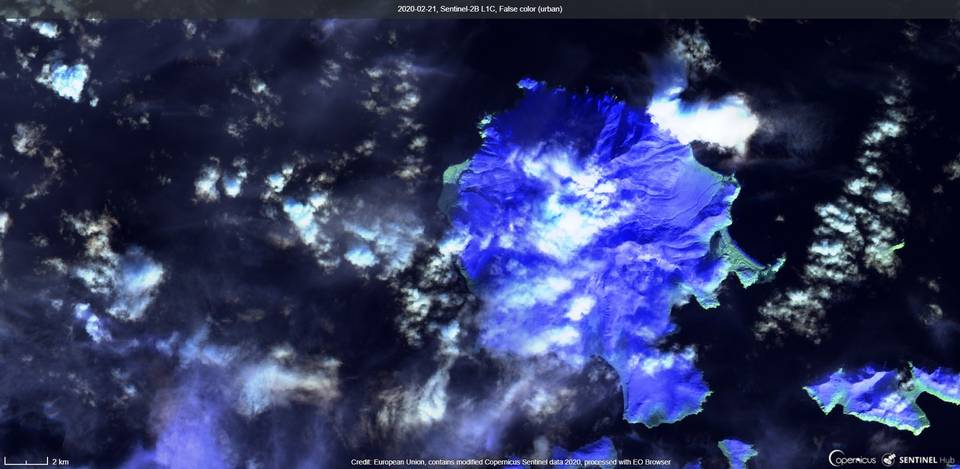Great Sitkin volcano from satellite (image: Sentinel 2)