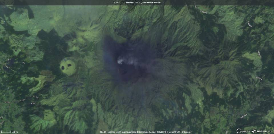 An ash plume from Aso volcano on 12 March (image: Sentinel 2)