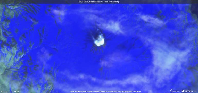 Steam plume from Semisopochnoi volcano from satellite (image: Sentinel 2)