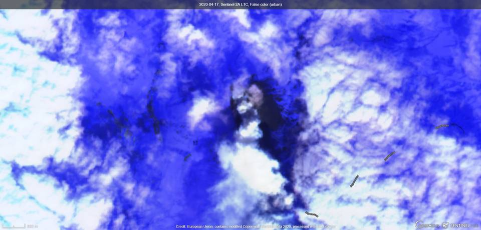 An ash emissions from Karymsky volcano from satellite on 17 April (image: Sentinel 2)