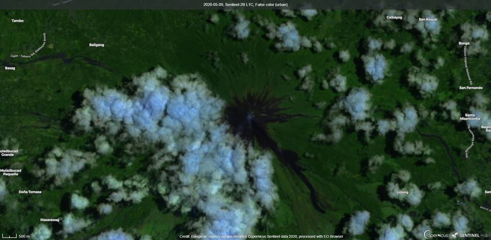 Mayon volcano from satellite (image: Sentinel 2)