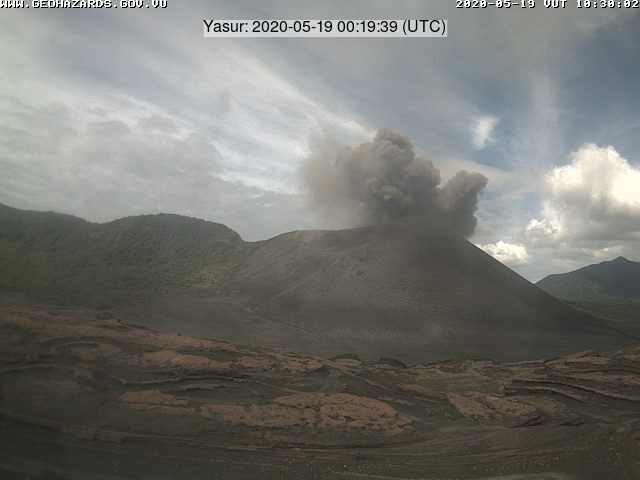 Ash content from Yasur volcano on 19 May (image: VMGD)