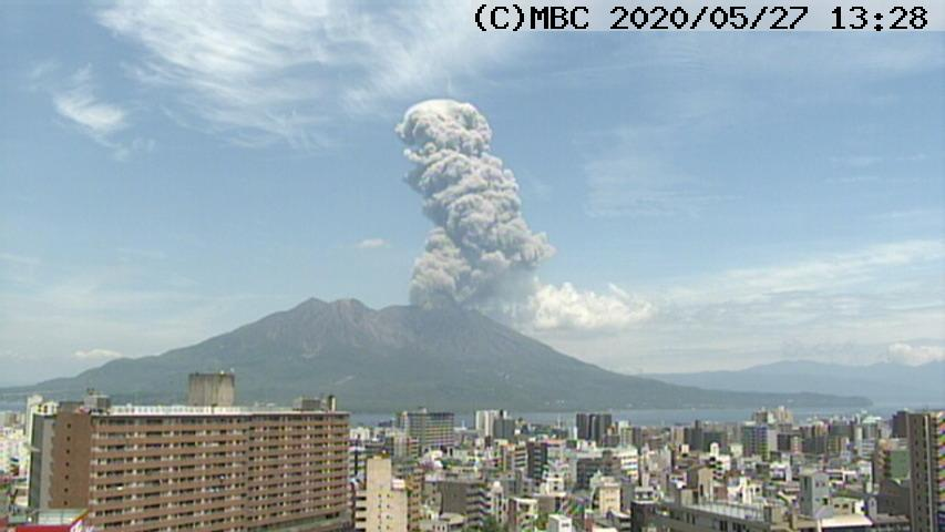 Ash plume from Sakurajima volcano today (image: Kagoshima MBC webcam)
