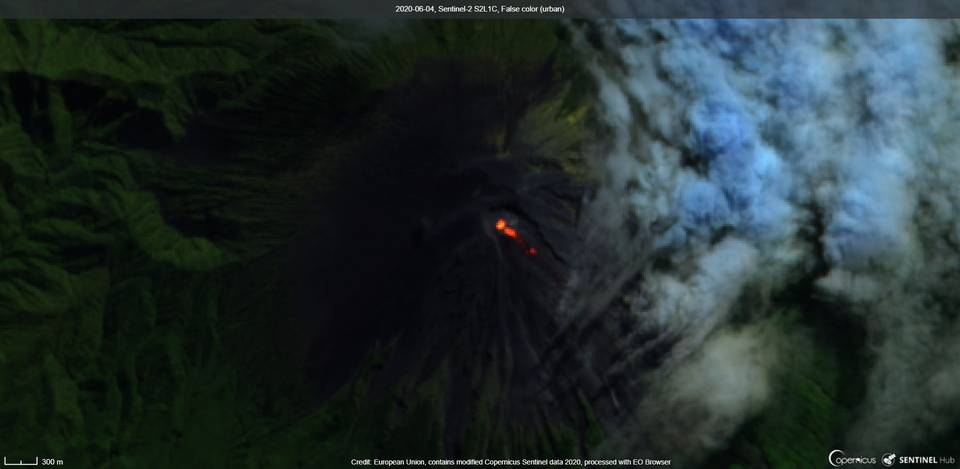 Satellite image of lava flows on the south and southeast flank from Semeru volcano (image: Sentinel 2)