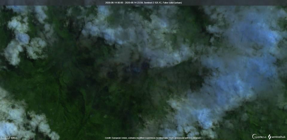 Turrialba volcano visible from satellite (image: Sentinel 2)