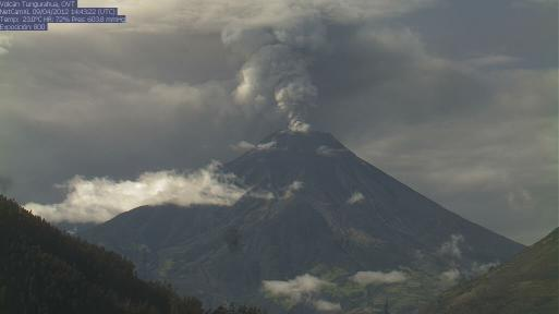 Ash emissie van Tungurahua op 9 April (foto: IG)
