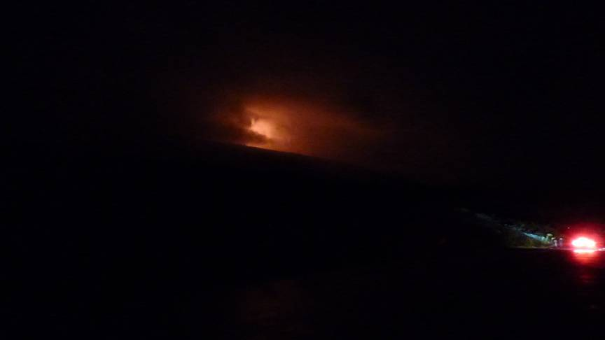 Incandescence from Piton de la Fournaise volcano taken on 10 February (image: OVPF)