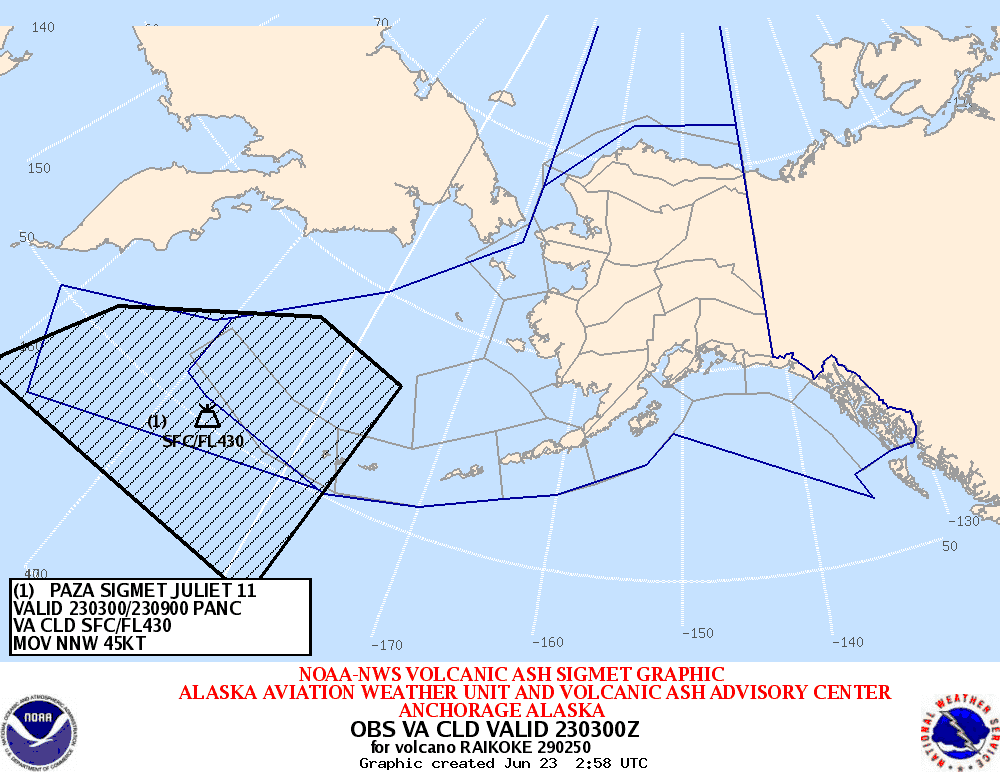 Currently affected area of the drifting ash cloud from Raikoke's eruption 21-22 June 2019 (imge: VAAC Anchorage)
