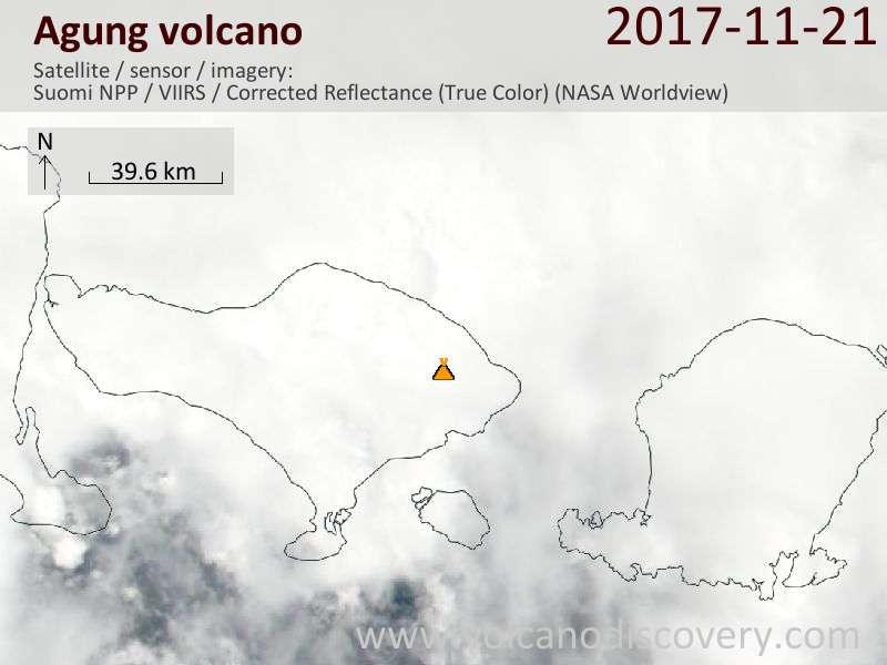 Satellite image of Agung volcano on 21 Nov 2017