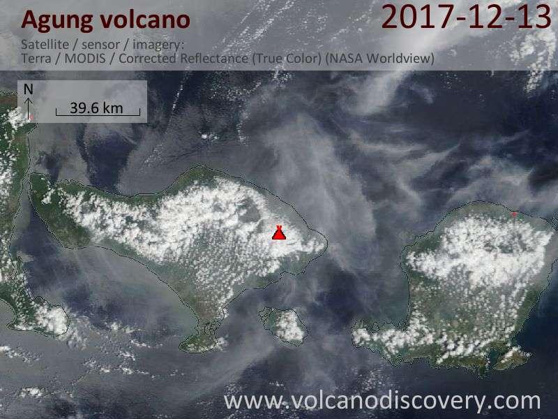 Satellite image of Agung volcano on 13 Dec 2017