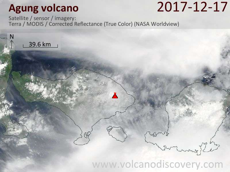 Satellite image of Agung volcano on 17 Dec 2017