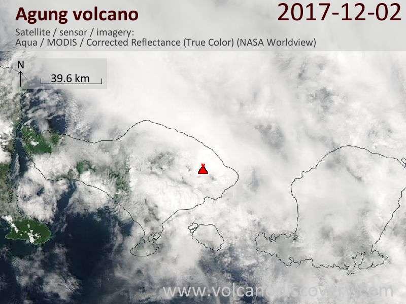 Satellite image of Agung volcano on  2 Dec 2017