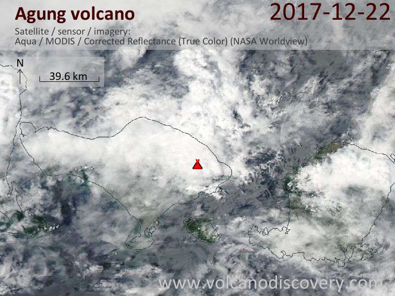 Satellite image of Agung volcano on 22 Dec 2017