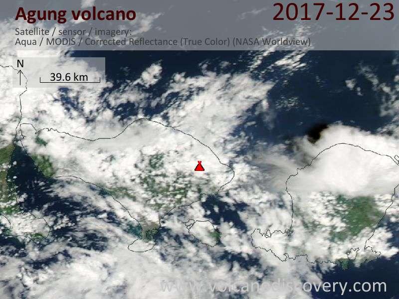 Satellite image of Agung volcano on 23 Dec 2017