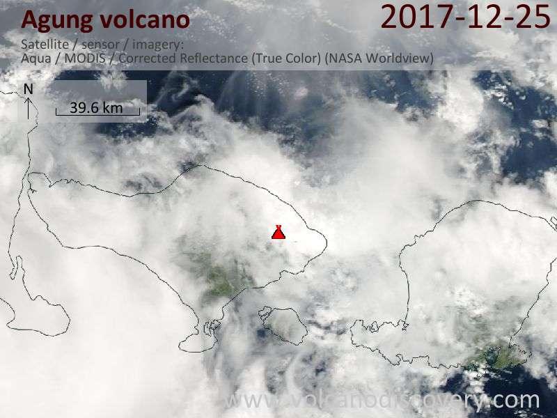 Satellite image of Agung volcano on 26 Dec 2017