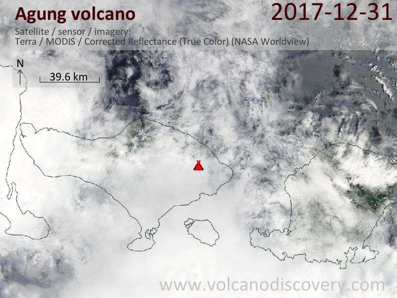Satellite image of Agung volcano on 31 Dec 2017