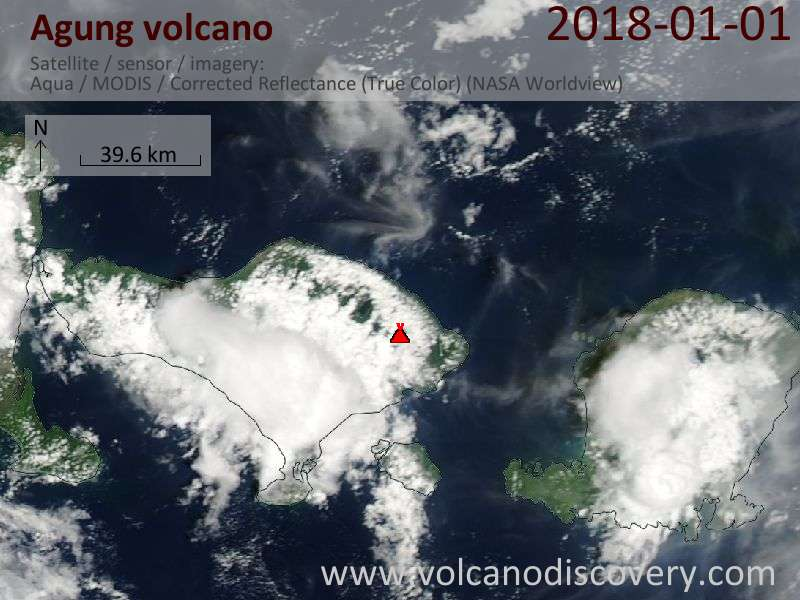 Satellite image of Agung volcano on  1 Jan 2018