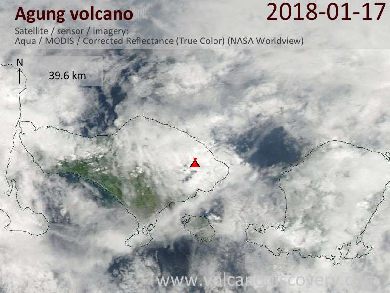 Satellite image of Agung volcano on 17 Jan 2018