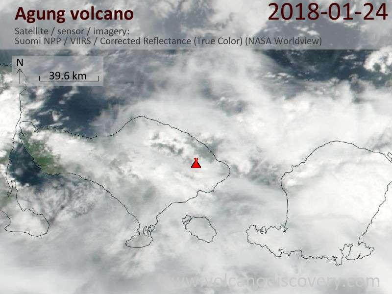Satellite image of Agung volcano on 24 Jan 2018