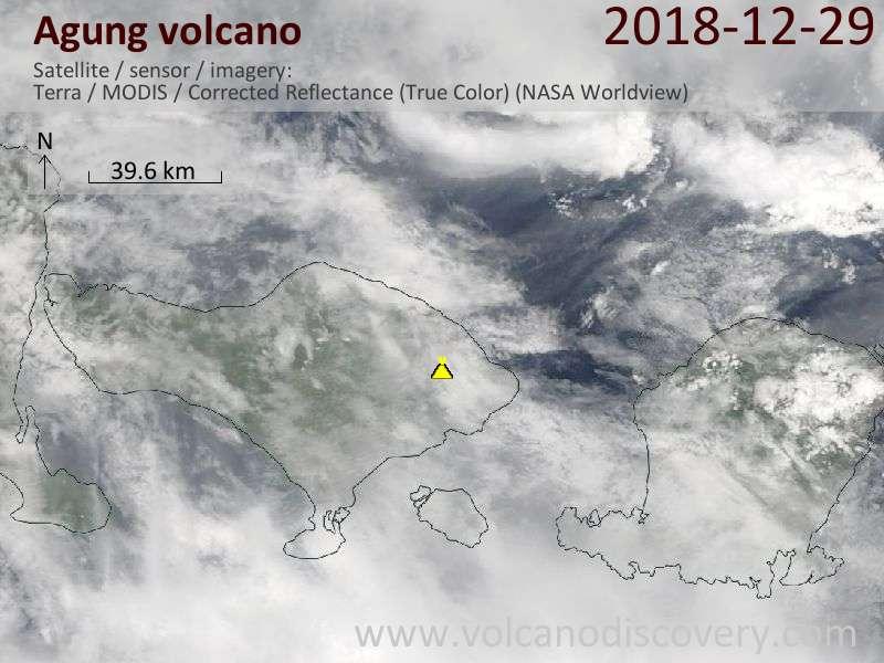 Satellite image of Agung volcano on 29 Dec 2018