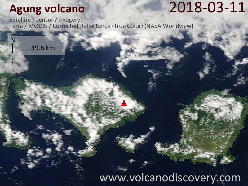 Satellite image of Agung volcano on 11 Mar 2018