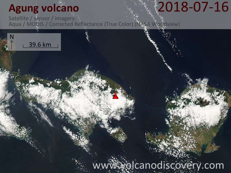 Satellite image of Agung volcano on 16 Jul 2018