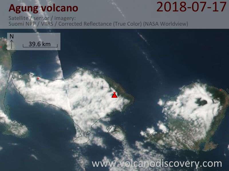 Satellite image of Agung volcano on 18 Jul 2018