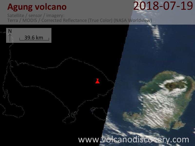 Satellite image of Agung volcano on 19 Jul 2018