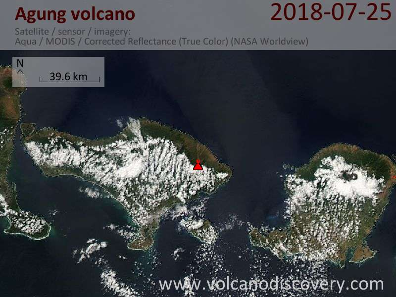 Satellite image of Agung volcano on 25 Jul 2018