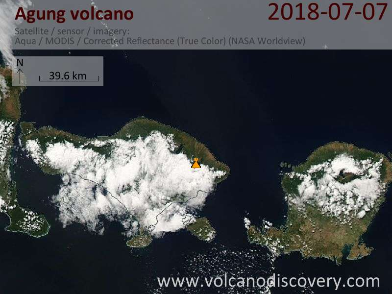 Satellite image of Agung volcano on  7 Jul 2018