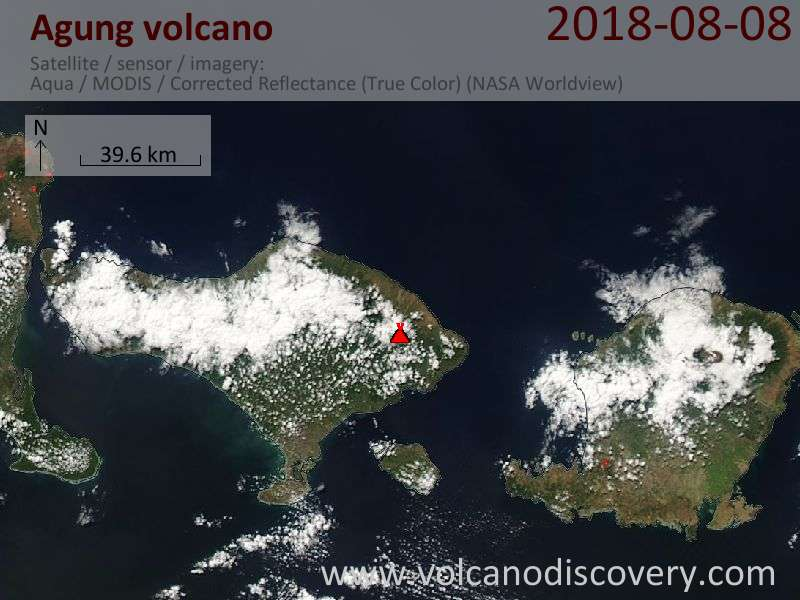 Satellite image of Agung volcano on  8 Aug 2018