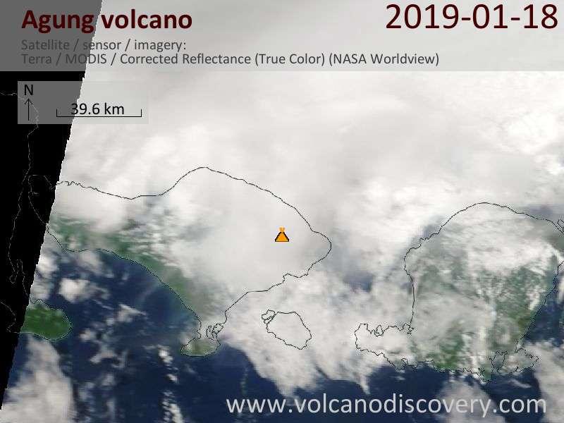 Satellite image of Agung volcano on 18 Jan 2019