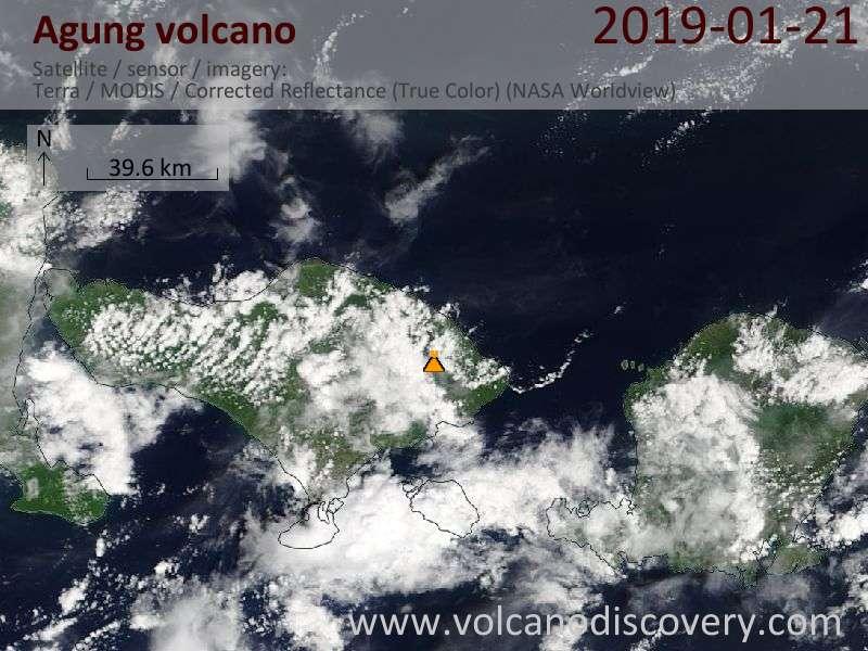 Satellite image of Agung volcano on 21 Jan 2019