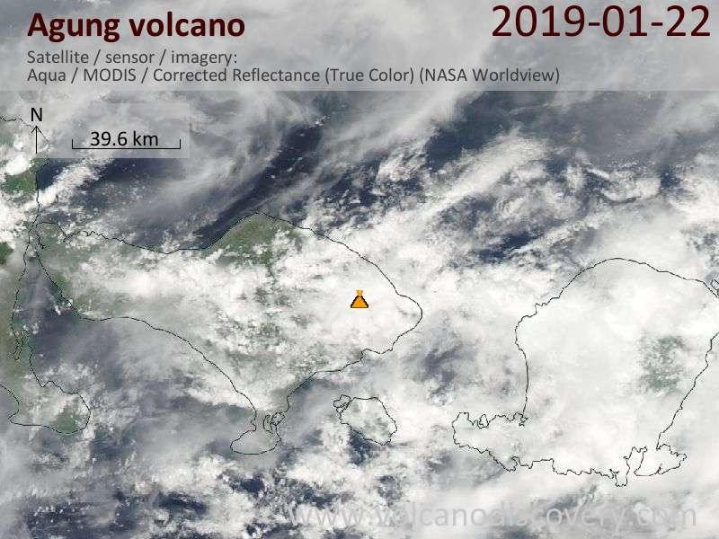 Satellite image of Agung volcano on 22 Jan 2019