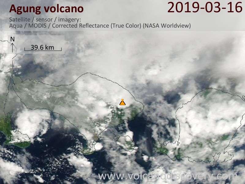 Satellitenbild des Agung Vulkans am 17 Mar 2019