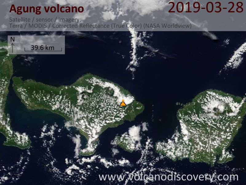 Satellite image of Agung volcano on 28 Mar 2019