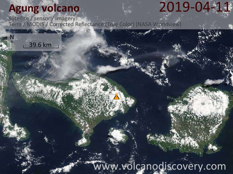 Satellite image of Agung volcano on 11 Apr 2019