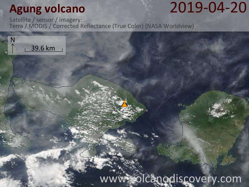 Satellite image of Agung volcano on 20 Apr 2019